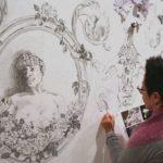 da exposição de desenho Humidade na parede, 2012. Projecto que convida o público a participar
