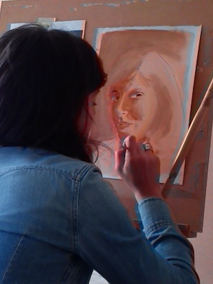 exercício na aula pintura, esboço de auto-retrato a óleo