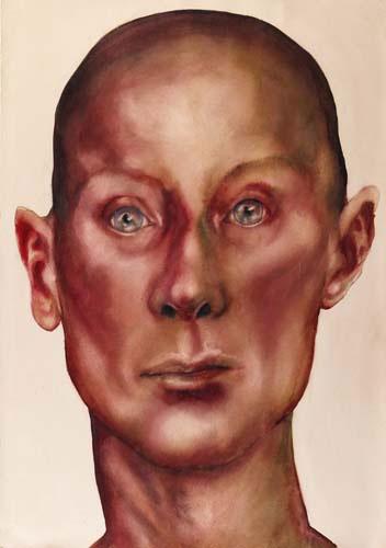 Teresa Cálem, aguarelas representando cabeças humanas