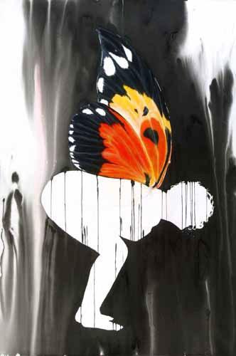exposição de aguarelas de Vanessa Chrystie, variações a partir da borboleta Vanessa, na Artadentro